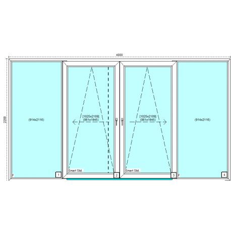 Drzwi przesuwne aluplast smart-slide schemat C